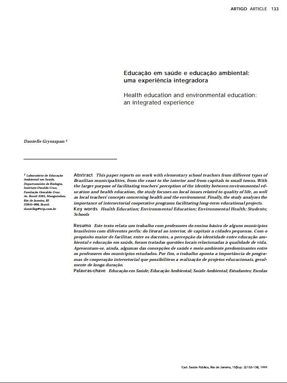 Educação em saúde e educação ambiental: uma experiência integradora