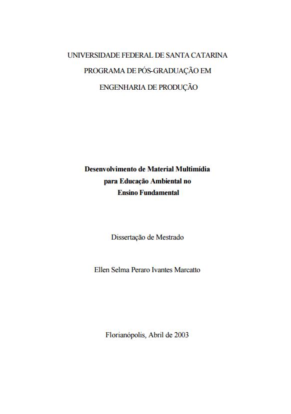 Desenvolvimento de Material Multimídia para Educação Ambiental no  Ensino Fundamental