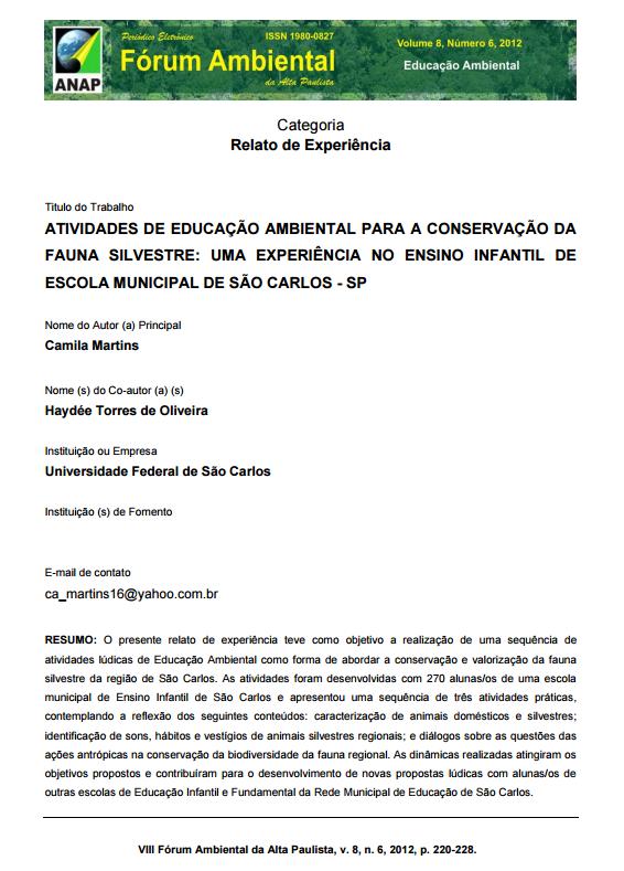 Excepcional Atividades de educação ambiental para a conservação da fauna  XZ66