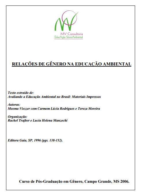 Relações de gênero na educação ambiental