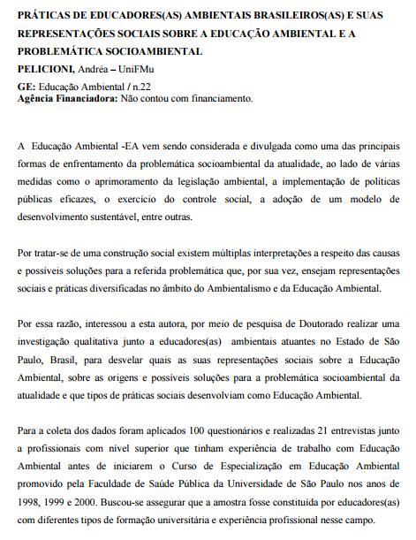 Práticas de educadores(as) ambientais brasileiros(as) e suas representações sociais sobre a educação ambiental e a problemática socioambiental