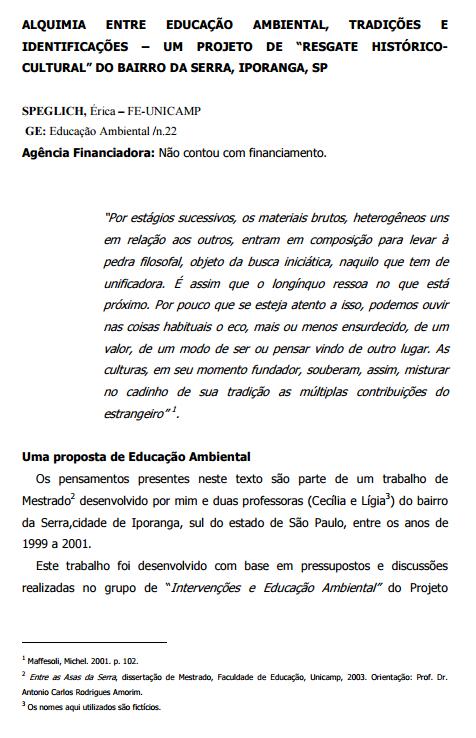 """Alquimia entre educação ambiental, tradições e identificações – um projeto de """"resgate histórico-cultural"""" do bairro da serra, Iporanga, SP"""