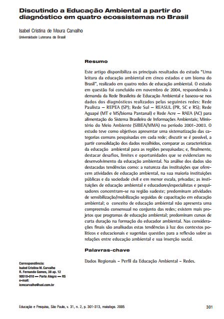 Discutindo a Educação Ambiental a partir do diagnóstico em quatro ecossistemas no Brasil