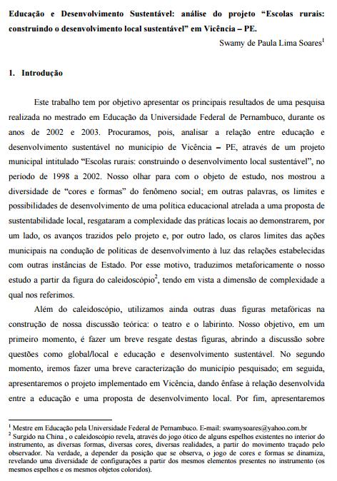 """Educação e Desenvolvimento Sustentável: análise do projeto """"Escolas rurais: construindo o desenvolvimento local sustentável"""" em Vicência – PE."""