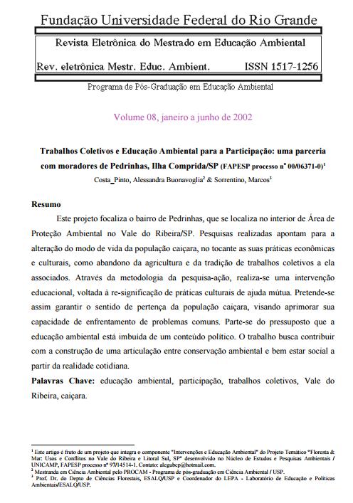 Trabalhos Coletivos e Educação Ambiental para a Participação: uma parceria com moradores de Pedrinhas, Ilha Comprida/SP
