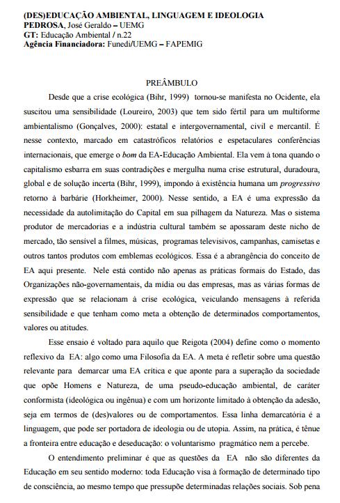 (Des)educação ambiental, linguagem e ideologia