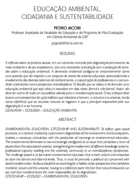 Educação ambiental, cidadania e sustentabilidade