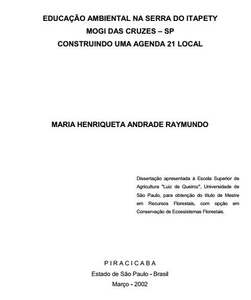 Educação ambiental na Serra do Itapety, Mogi das Cruzes – SP: Construindo uma agenda 21 local