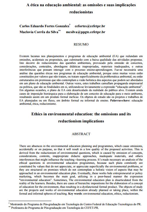 A ética na educação ambiental: as omissões e suas implicações reducionistas