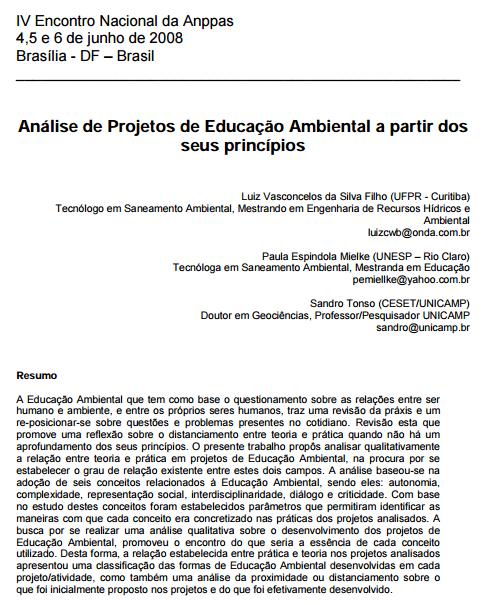 Análise de Projetos de Educação Ambiental a partir dos seus princípios