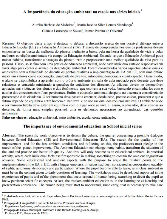 A Importância da educação ambiental na escola nas séries iniciais