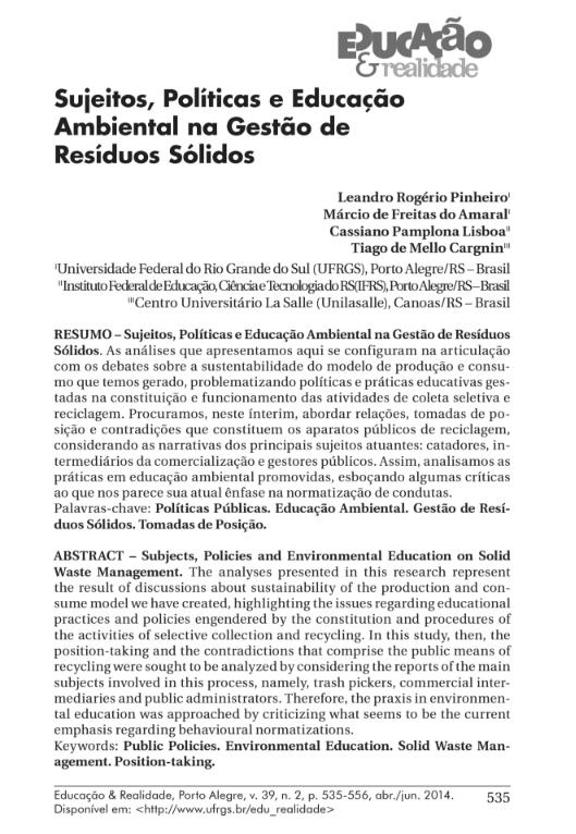 Sujeitos, políticas e educação ambiental na gestão de resíduos sólidos