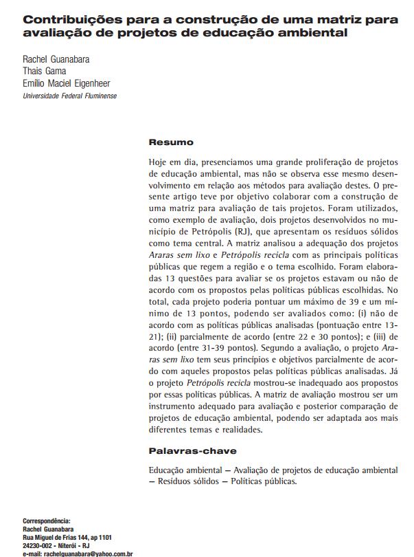 Contribuições para a construção de uma matriz para avaliação de projetos de educação ambiental