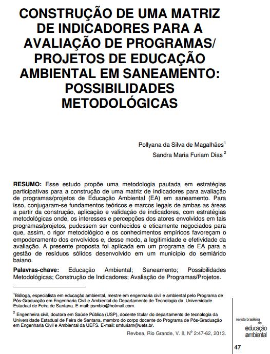 Construção de uma matriz de indicadores para a avaliação de programas/projetos de educação ambiental em saneamento: possibilidades metodológicas