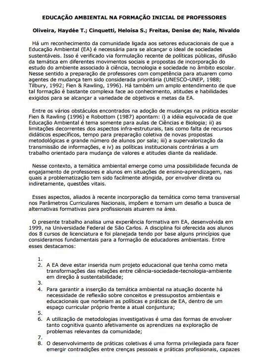 Educação Ambiental na formação inicial de professores