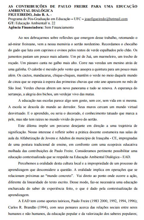 As contribuições de Paulo Freire para uma educação ambiental dialógica