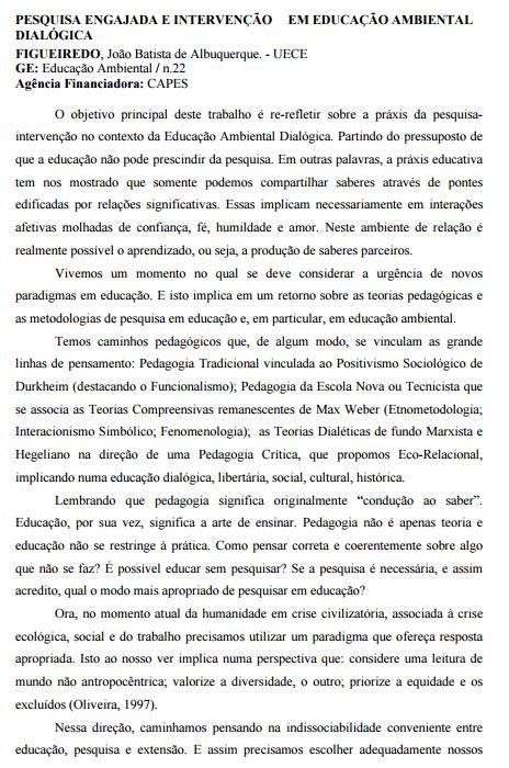 Pesquisa engajada e intervenção em educação ambiental dialógica