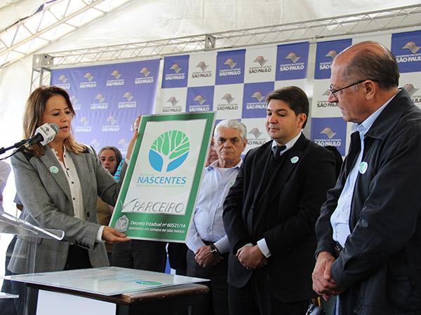 Patrícia Iglecias and Geraldo Alckmin attended the ceremony on 3 June 2015 in Joanópolis.