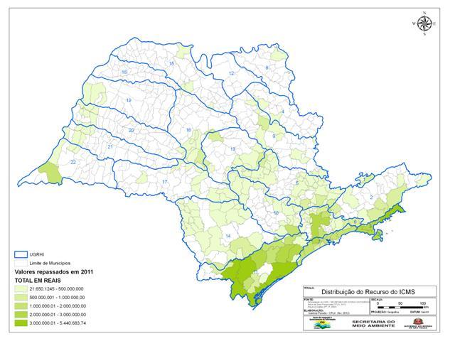 188 municípios do Estado receberam 101 milhões de reais em 2011 relativos ao ICMS ecológico