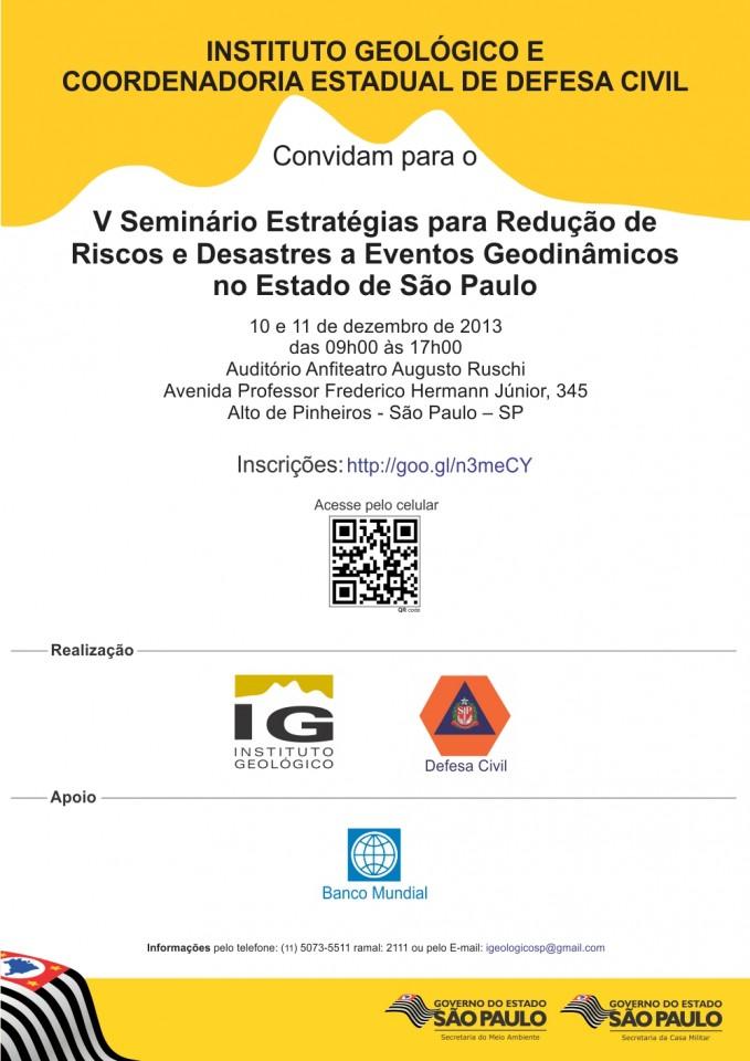 Inscrições abertas para o V Seminário Estratégias para Redução Riscos e Desastres a Eventos Geodinâmicos